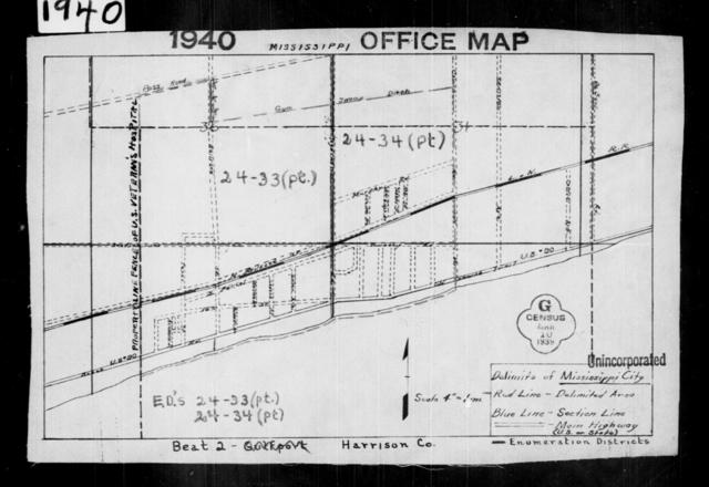 1940 Census Enumeration District Maps - Mississippi - Harrison County - Mississippi City - ED 24-33, ED 24-34