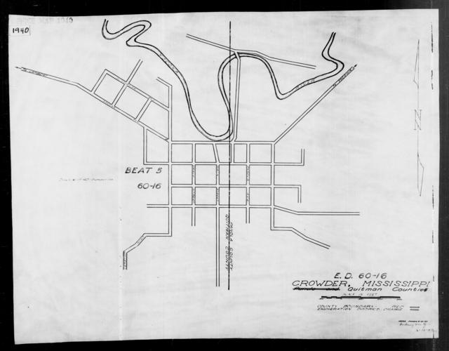 1940 Census Enumeration District Maps - Mississippi - Quitman County - Crowder - ED 60-16