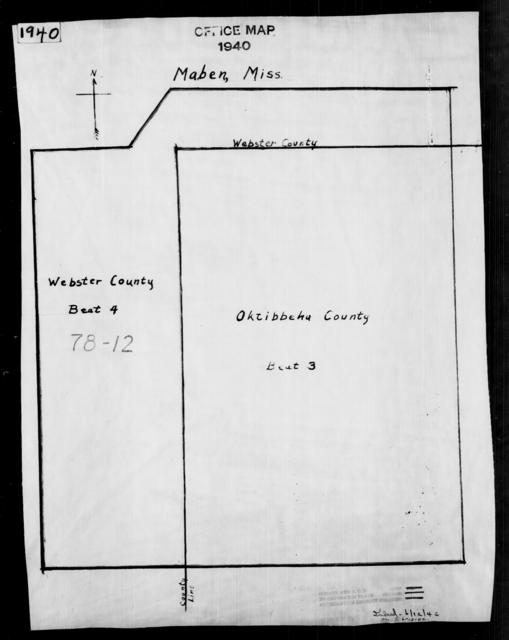 1940 Census Enumeration District Maps - Mississippi - Webster County - Maben - ED 78-12