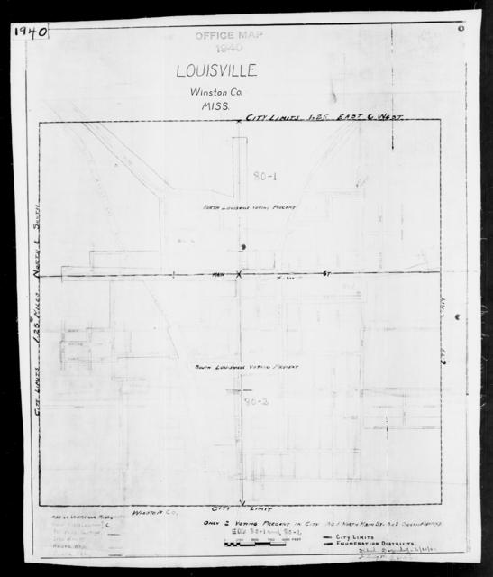 1940 Census Enumeration District Maps - Mississippi - Winston County - Louisville - ED 80-1, ED 80-2