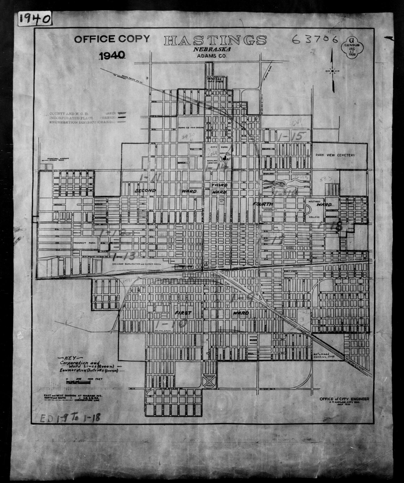1940 Census Enumeration District Maps - Nebraska - Adams