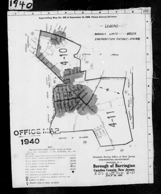 1940 Census Enumeration District Maps - New Jersey - Camden County - Barrington - ED 4-10, ED 4-11