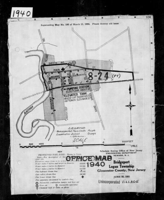 1940 Census Enumeration District Maps - New Jersey - Gloucester County - Logan - ED 8-24, ED 8-25