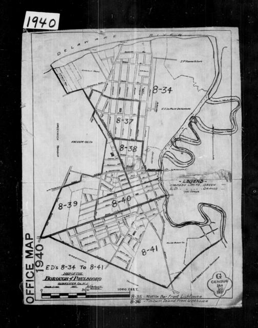 1940 Census Enumeration District Maps - New Jersey - Gloucester County - Paulsboro - ED 8-34, ED 8-36, ED 8-37, ED 8-38, ED 8-39, ED 8-40, ED 8-41