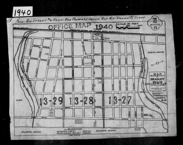 1940 Census Enumeration District Maps - New Jersey - Monmouth County - Bradley Beach - ED 13-27, ED 13-28, ED 13-29
