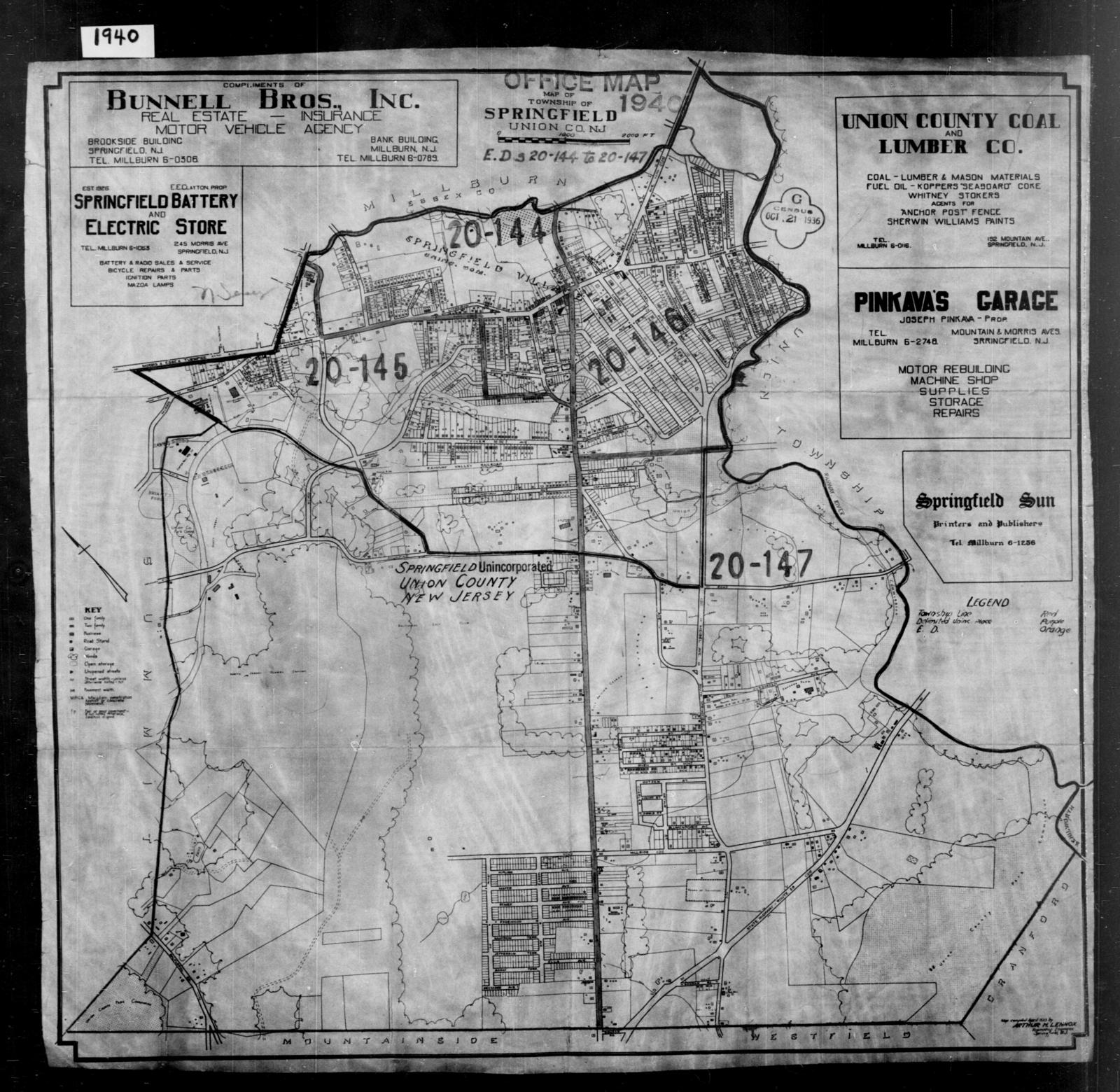 1940 Census Enumeration District Maps - New Jersey - Union County - Springfield - ED 20-144, ED 20-145, ED 20-146, ED 20-147