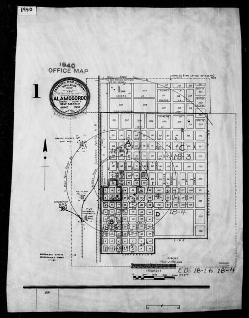 1940 Census Enumeration District Maps - New Mexico - Otero County - Alamogordo - ED 18-1, ED 18-2, ED 18-3, ED 18-4A, ED 18-4B