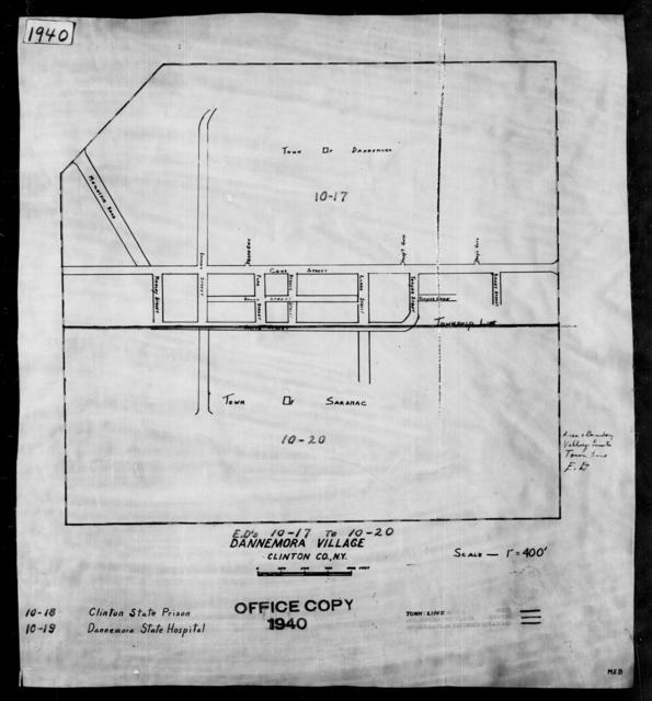 1940 Census Enumeration District Maps - New York - Clinton County - Dannemora - ED 10-17, ED 10-18, ED 10-19, ED 10-21