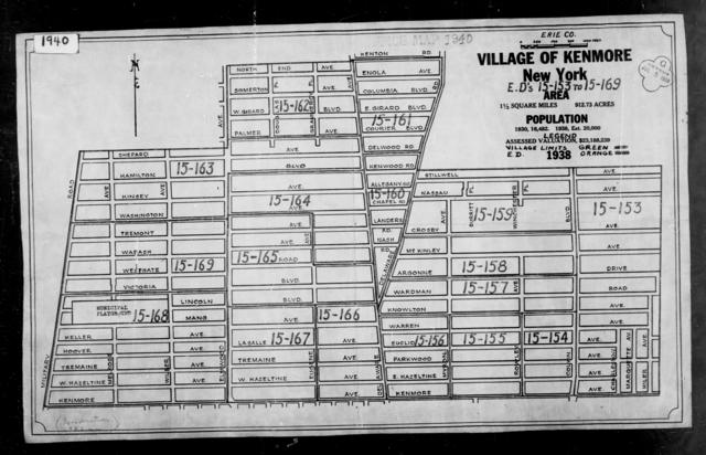 1940 Census Enumeration District Maps - New York - Erie County - Kenmore - ED 15-153 - ED 15-169