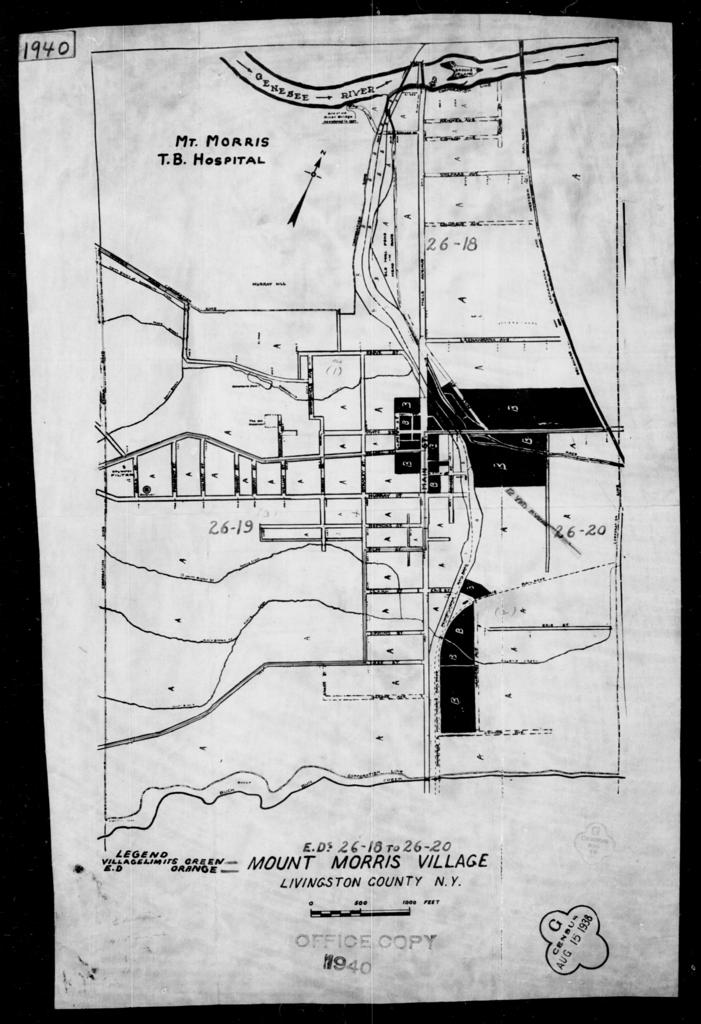 1940 Census Enumeration District Maps - New York - Livingston County - Mount Morris - ED 26-18, ED 26-19, ED 26-20, ED 26-21, ED 26-22, ED 26-23