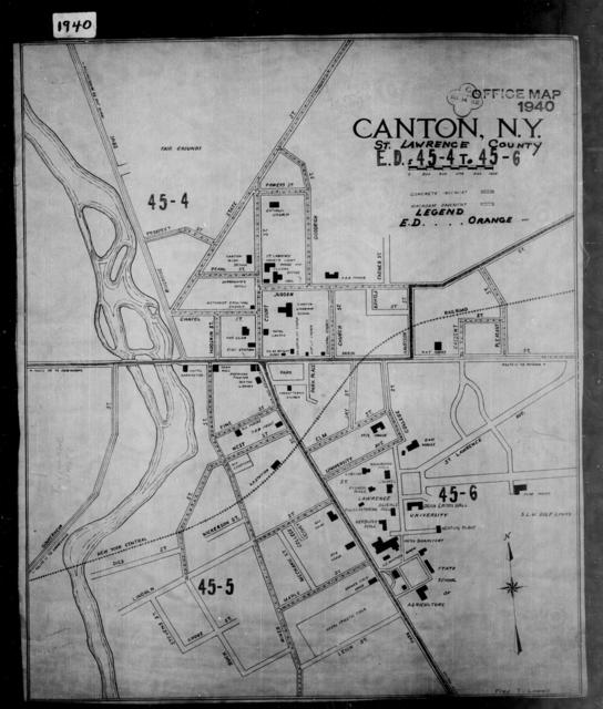 1940 Census Enumeration District Maps - New York - St. Lawrence County - Canton - ED 45-4, ED 45-5, ED 45-6, ED 45-7, ED 45-8, ED 45-9, ED 45-10, ED 45-11