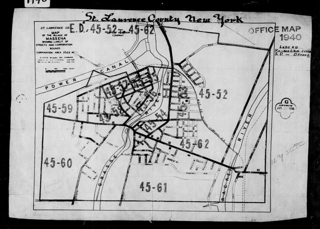 1940 Census Enumeration District Maps - New York - St. Lawrence County - Massena - ED 45-52 - ED 45-64