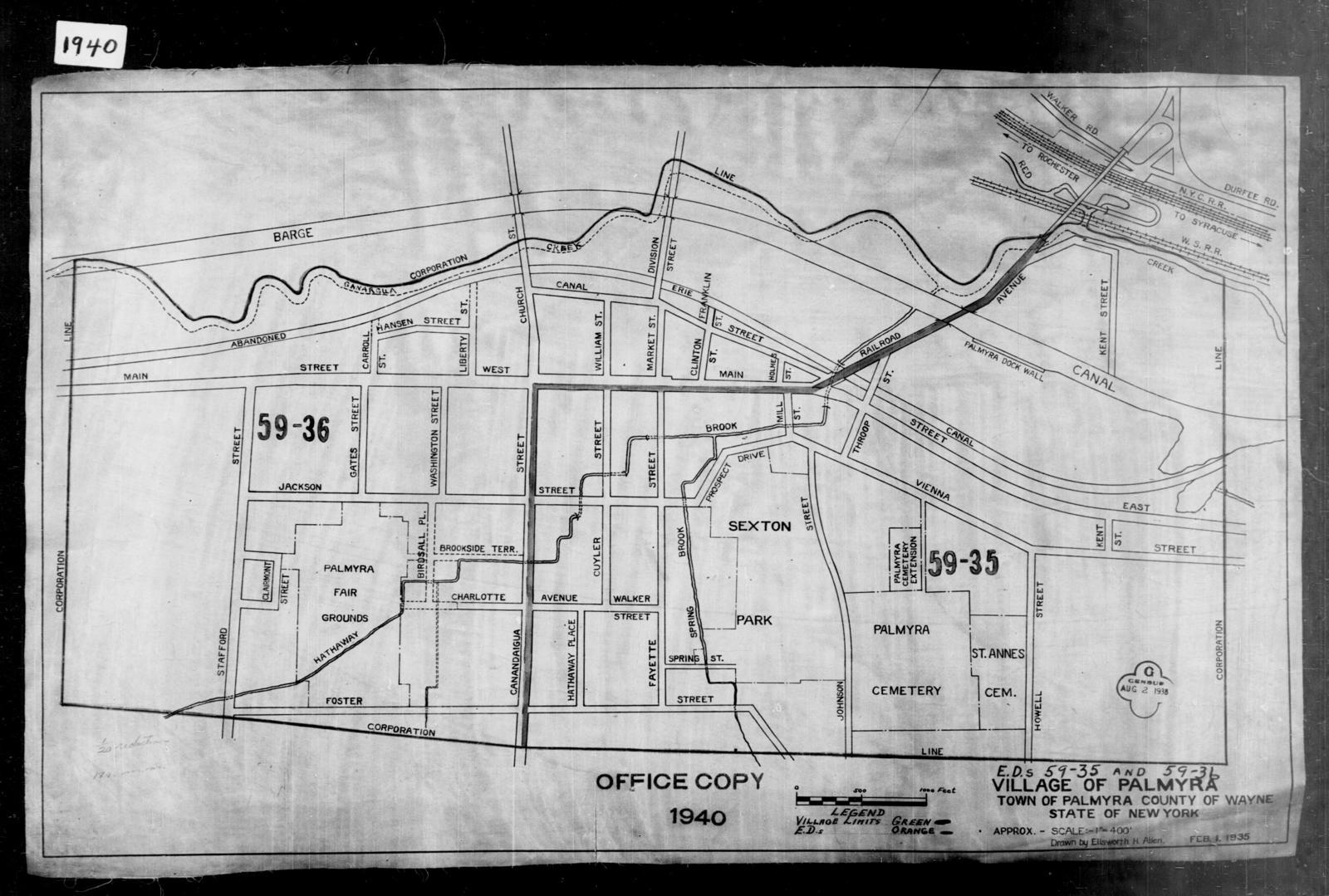 1940 Census Enumeration District Maps - New York - Wayne County - Palmyra - ED 59-35, ED 59-36, ED 59-37, ED 59-38
