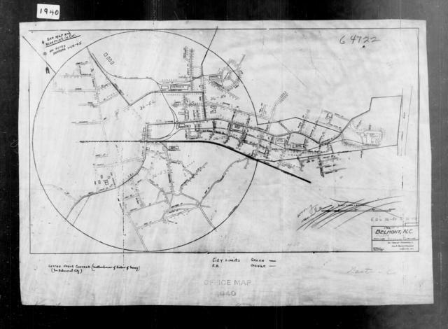 1940 Census Enumeration District Maps - North Carolina - Gaston County - Belmont - ED 36-50, ED 36-51, ED 36-52A, ED 36-52B, ED 36-52C, ED 36-53, ED 36-54