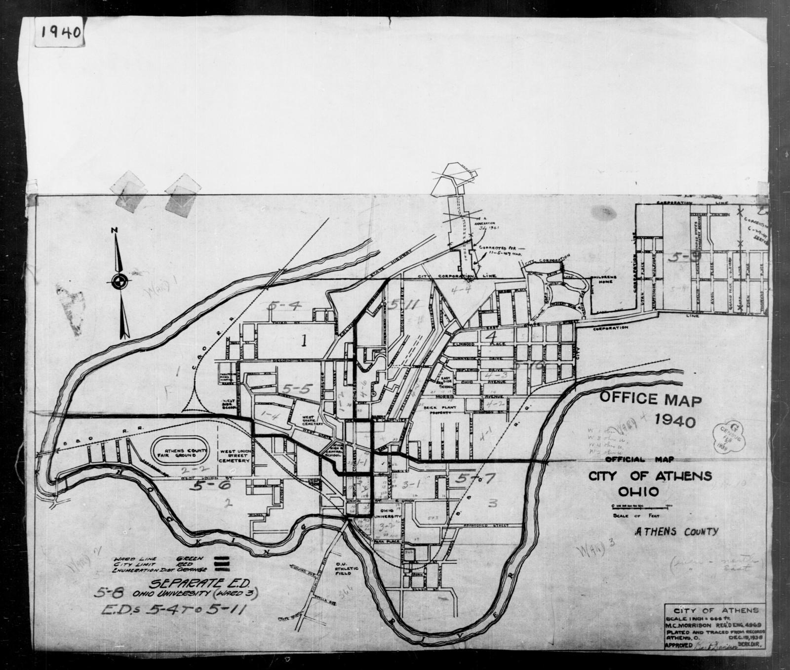 1940 Census Enumeration District Maps - Ohio - Athens County - Athens - ED 5-4, ED 5-5, ED 5-6, ED 5-7, ED 5-8, ED 5-9, ED 5-10, ED 5-11