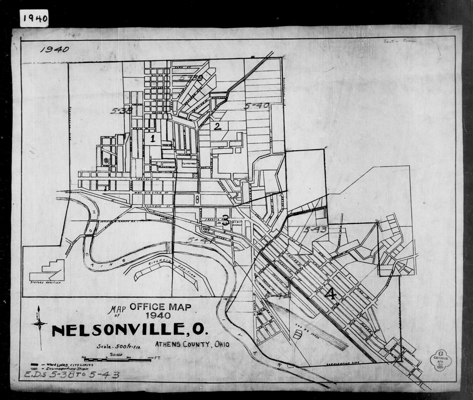 1940 Census Enumeration District Maps Ohio Athens County