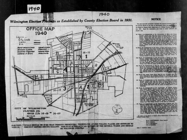1940 Census Enumeration District Maps - Ohio - Clinton County - Wilmington - ED 14-16, ED 14-17, ED 14-18, ED 14-19, ED 14-20