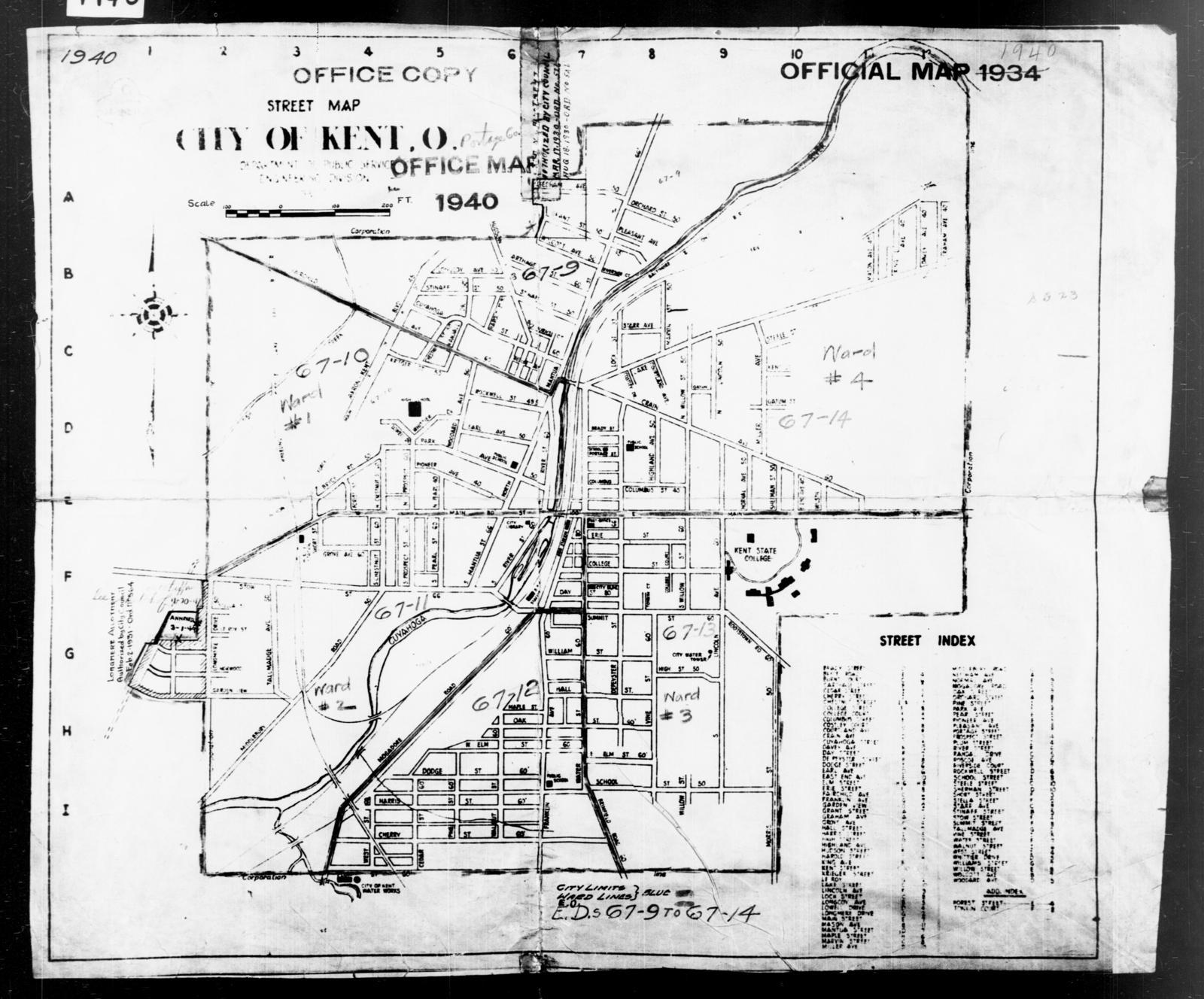 1940 Census Enumeration District Maps Ohio Portage County Kent