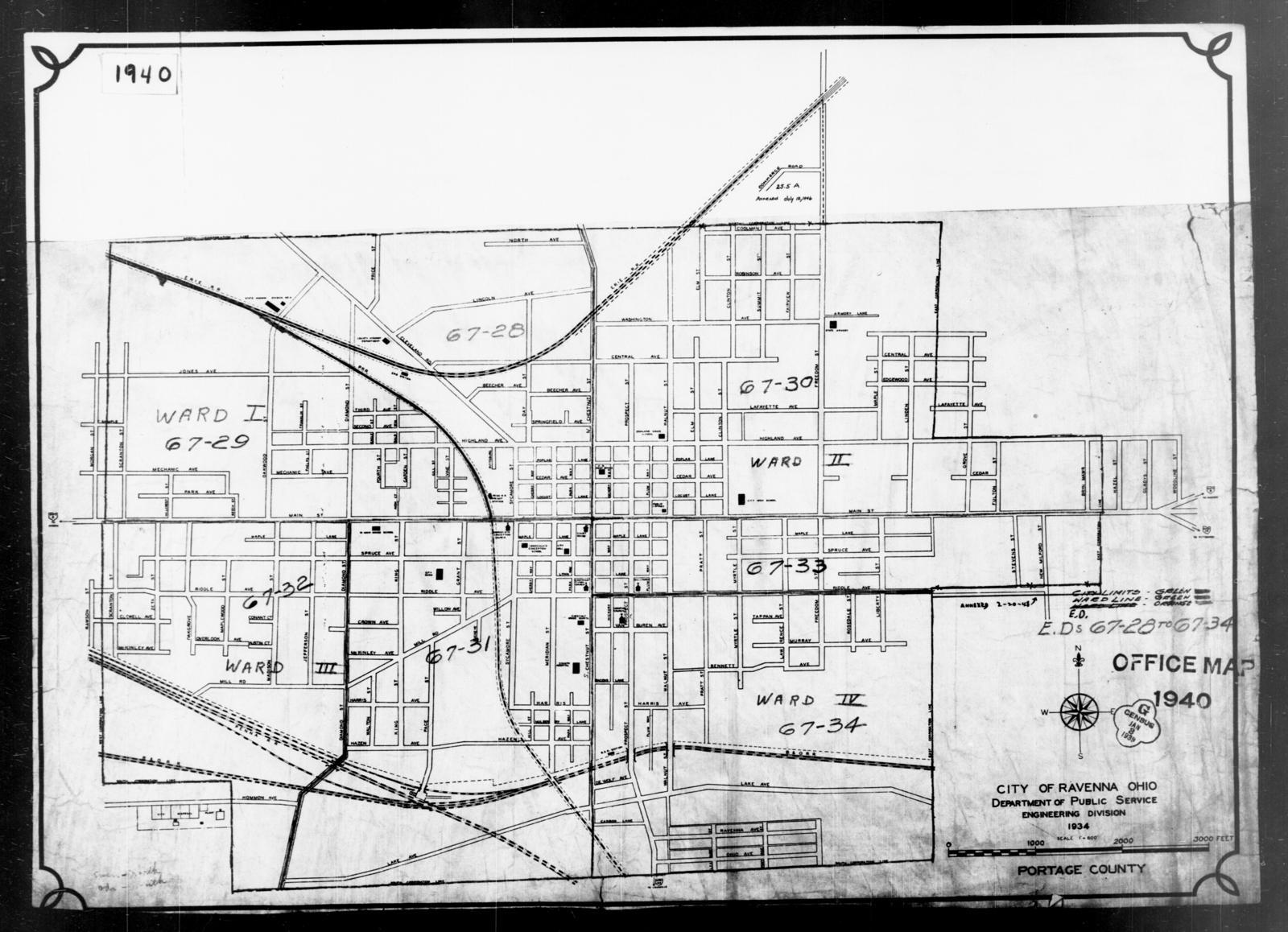 1940 Census Enumeration District Maps Ohio Portage