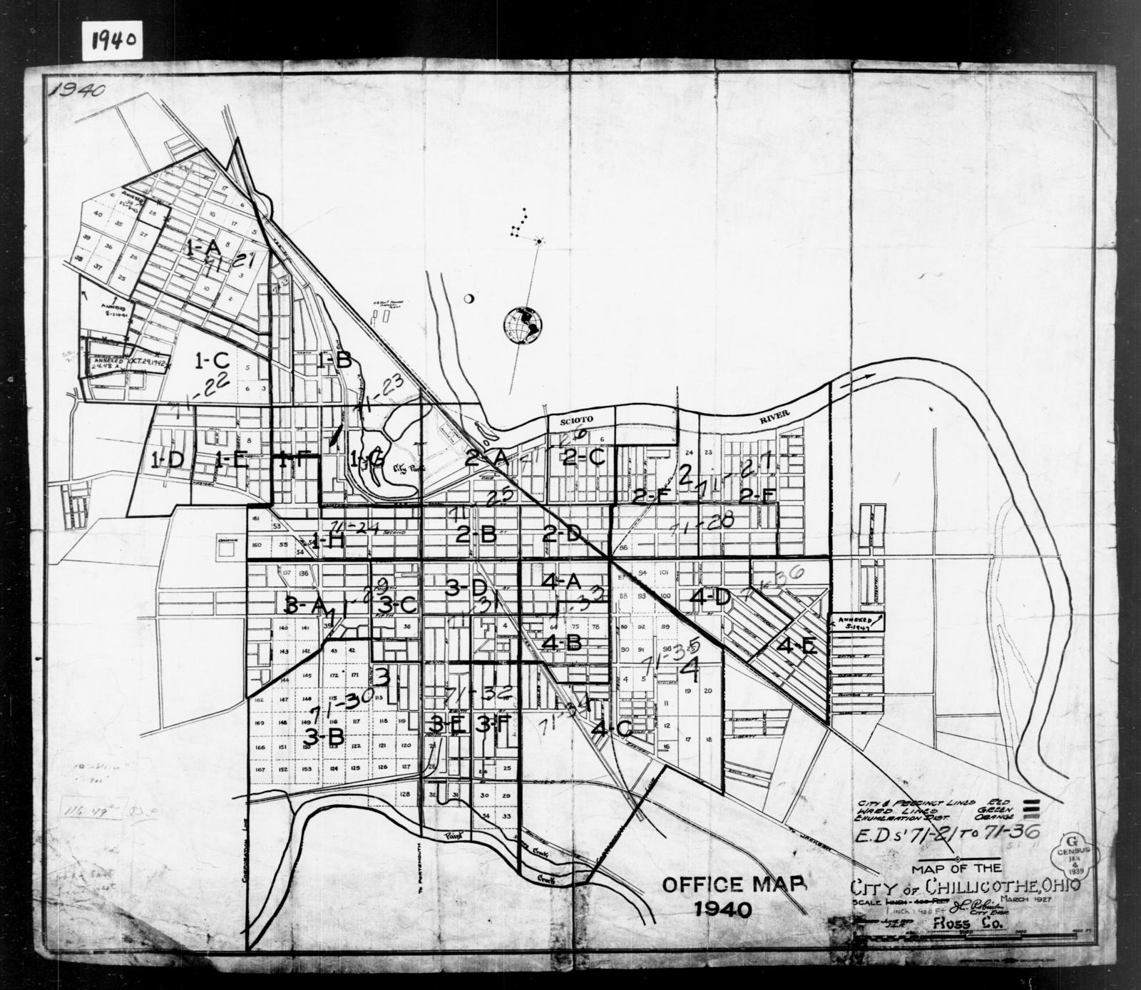 1940 Census Enumeration District Maps Ohio Ross County