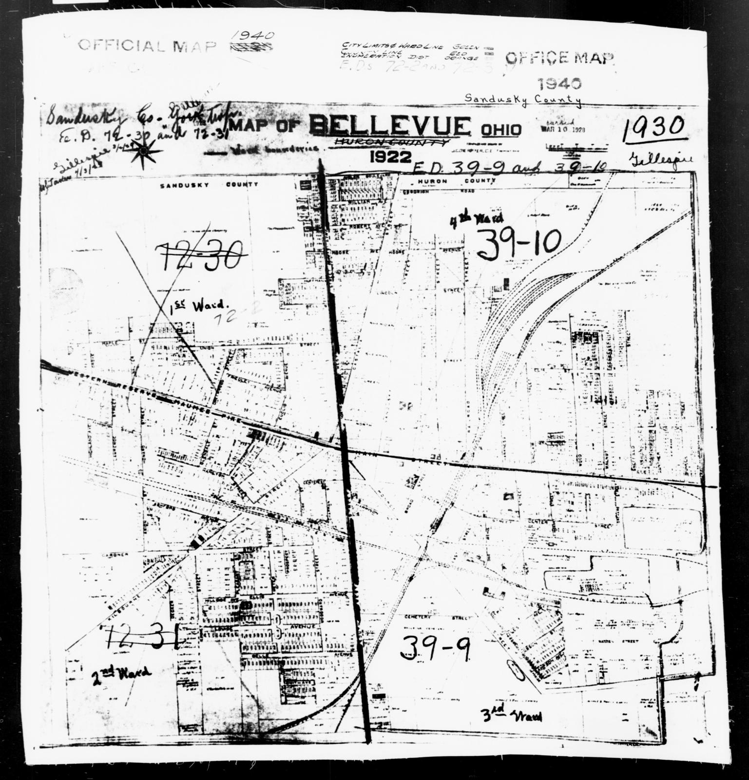 1940 Census Enumeration District Maps - Ohio - Sandusky County - Bellevue - ED 72-2, ED 72-3