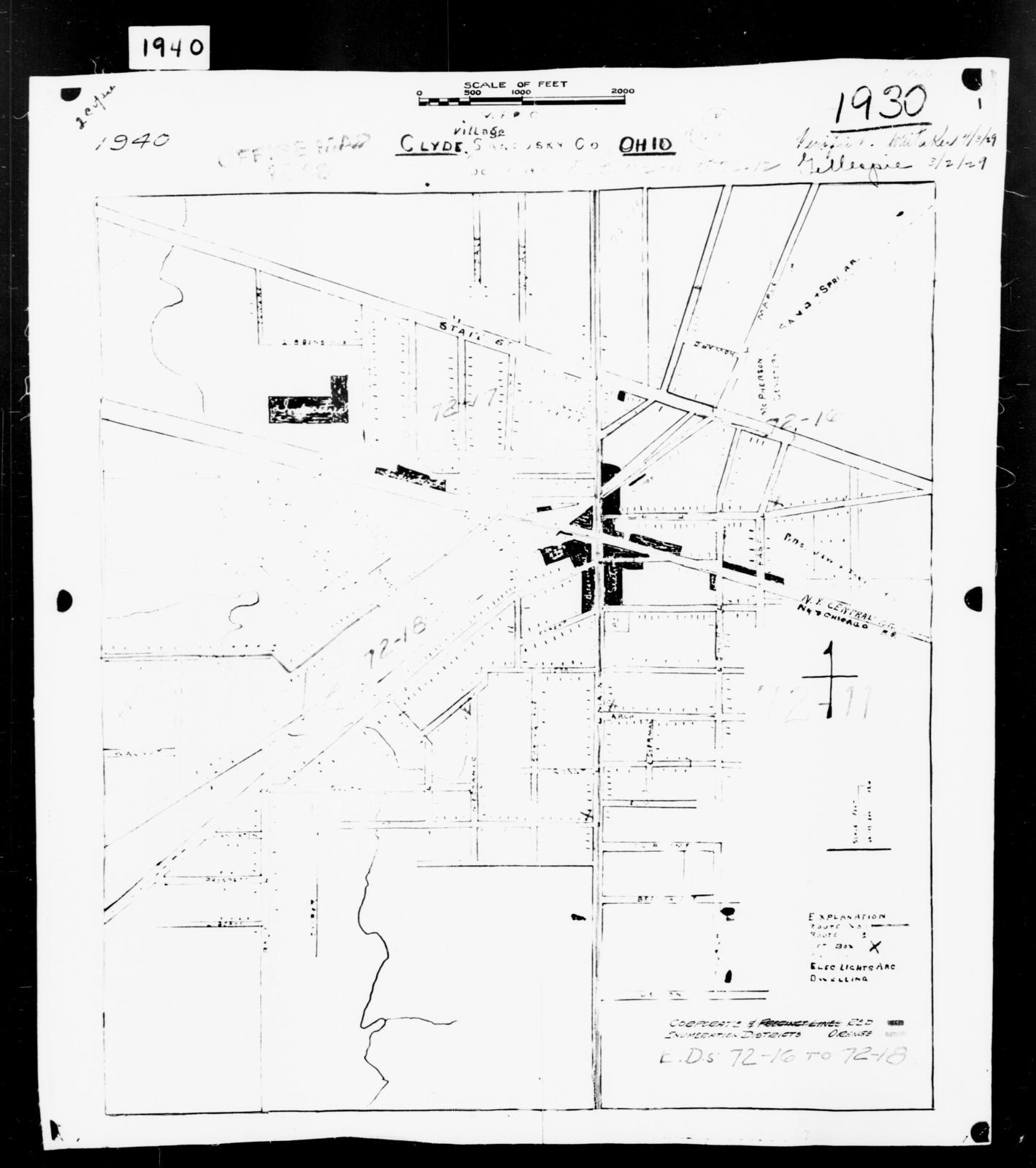 1940 Census Enumeration District Maps - Ohio - Sandusky County - Clyde - ED 72-16, ED 72-17, ED 72-18