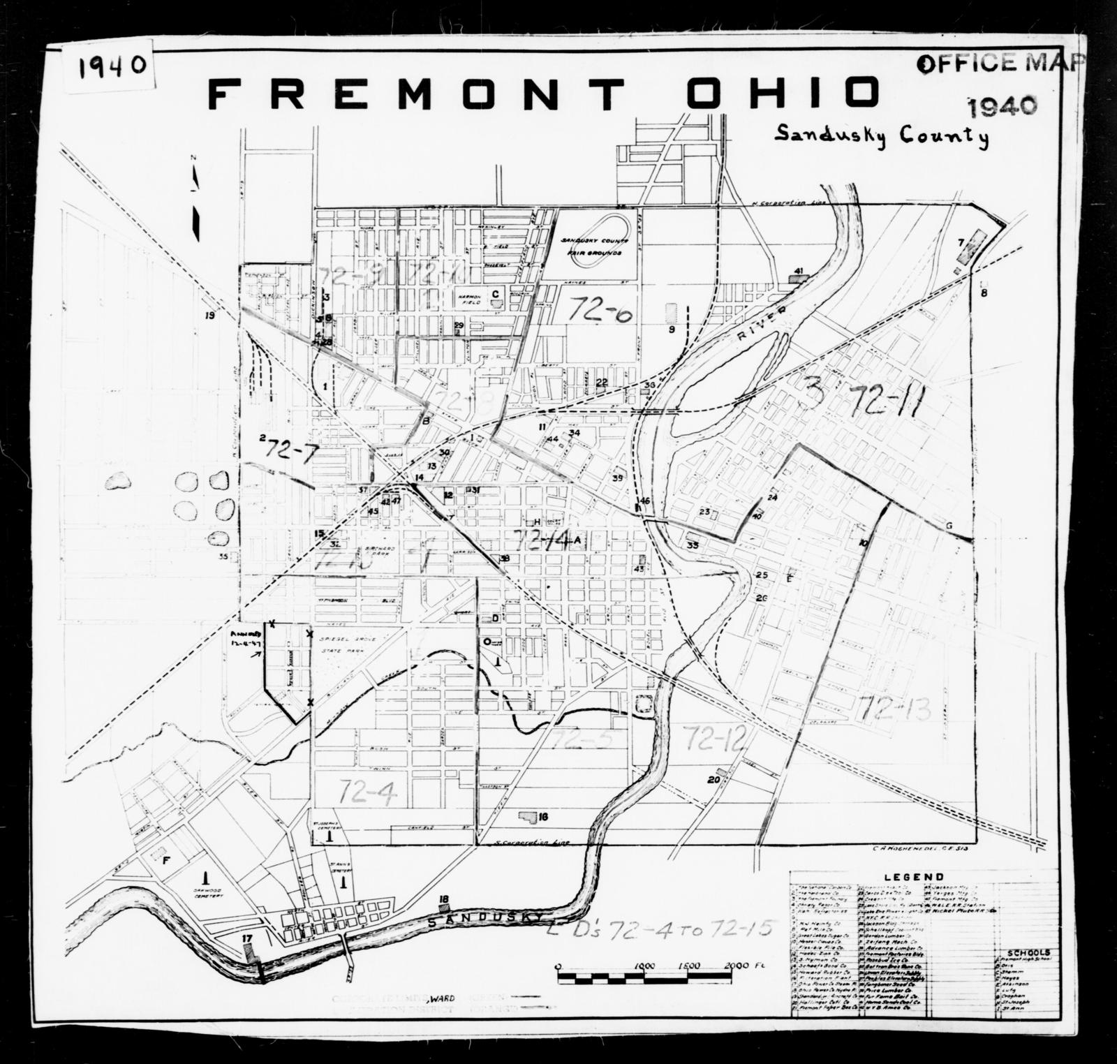 1940 Census Enumeration District Maps - Ohio - Sandusky County - Fremont - ED 72-4 - ED 72-15