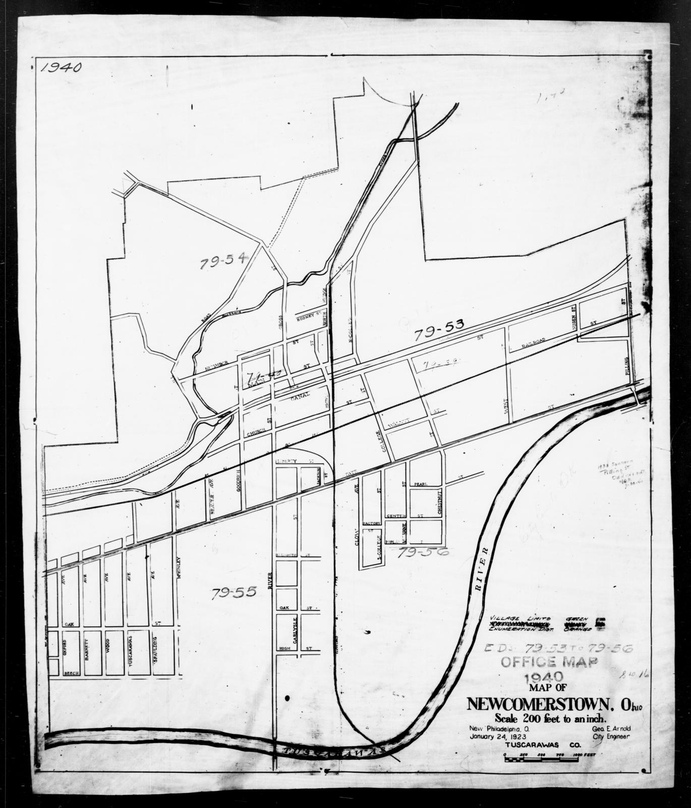 Newcomerstown Ohio Map.1940 Census Enumeration District Maps Ohio Tuscarawas County