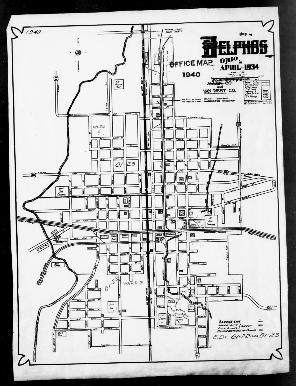 1940 Census Enumeration District Maps Ohio Van Wert County
