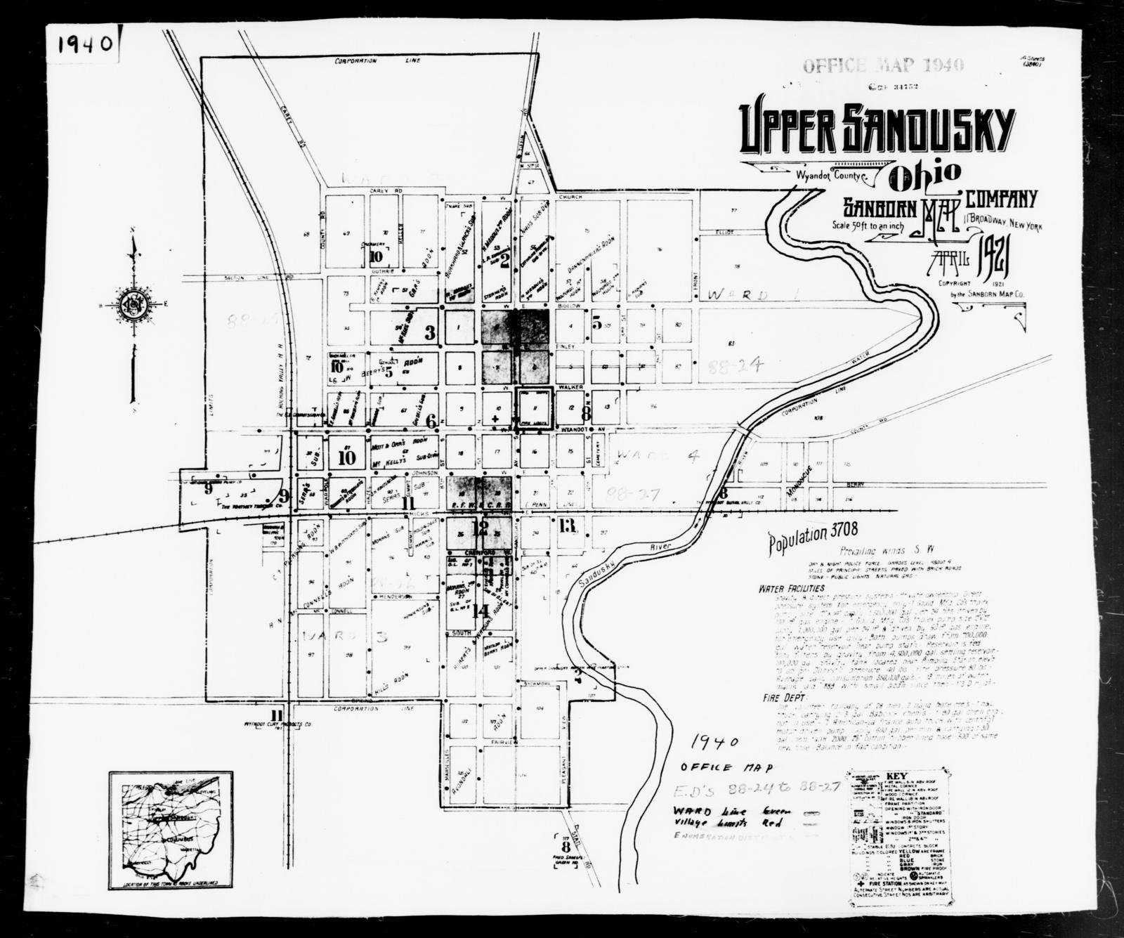 1940 Census Enumeration District Maps - Ohio - Wyandot County - Upper Sandusky - ED 88-24, ED 88-25, ED 88-26, ED 88-27