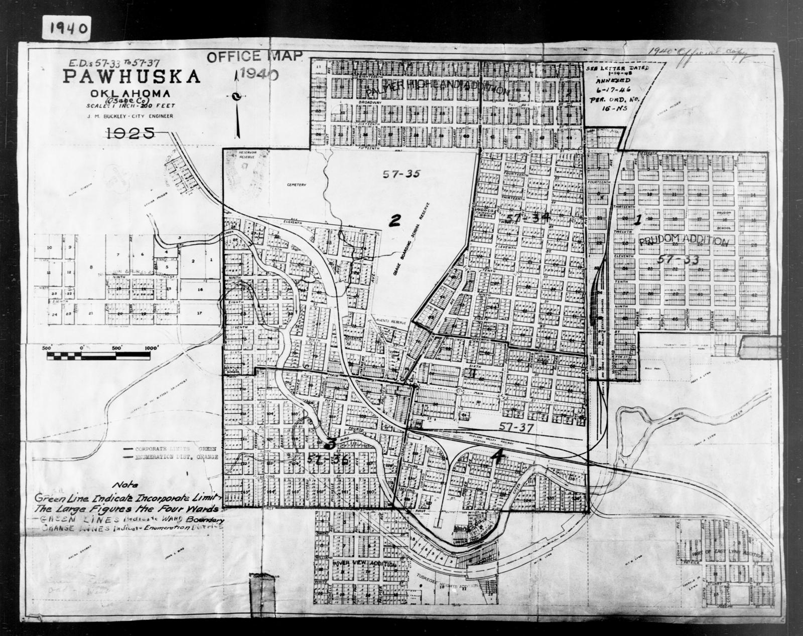 1940 Census Enumeration District Maps Oklahoma Osage County