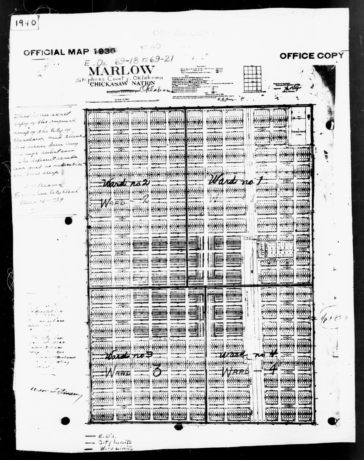 1940 Census Enumeration District Maps Oklahoma Stephens County