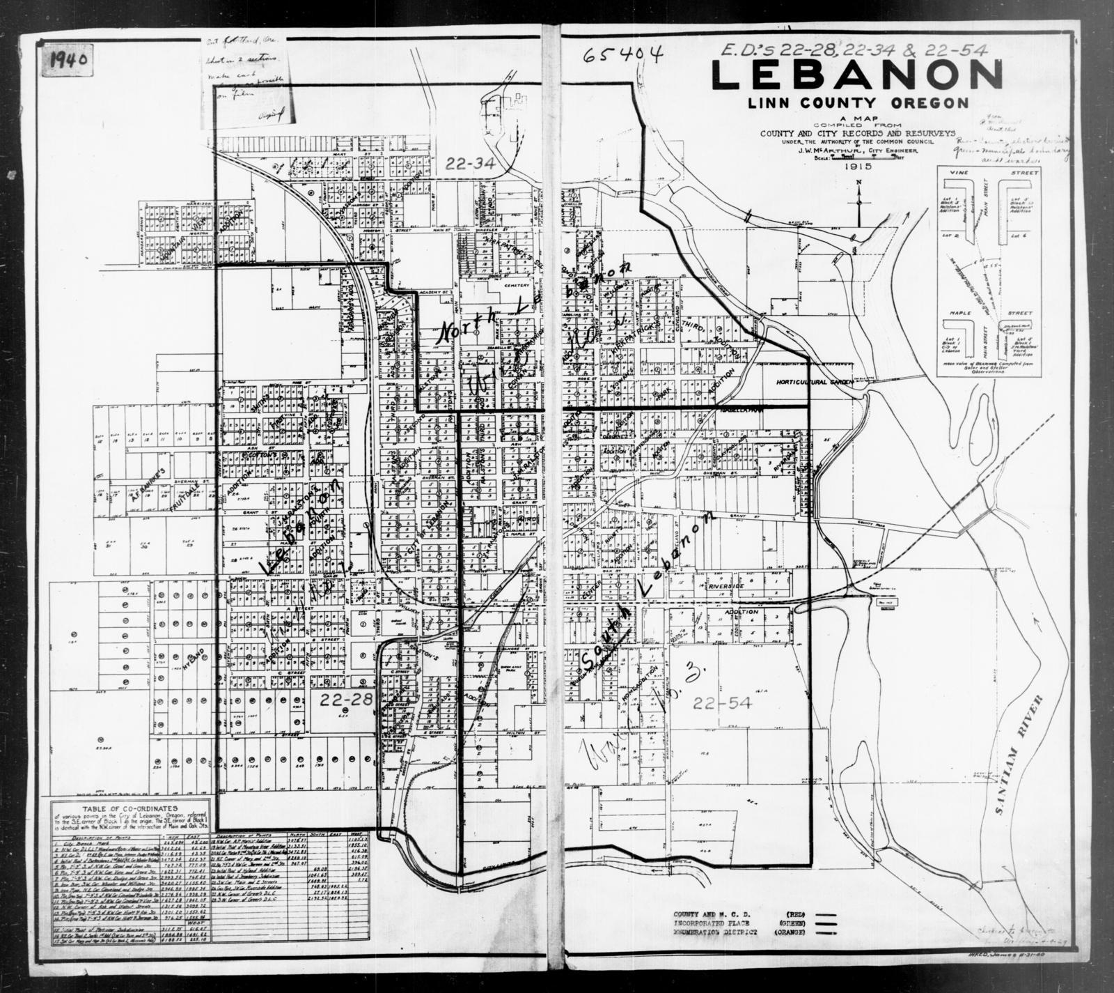 1940 Census Enumeration District Maps Oregon Linn County