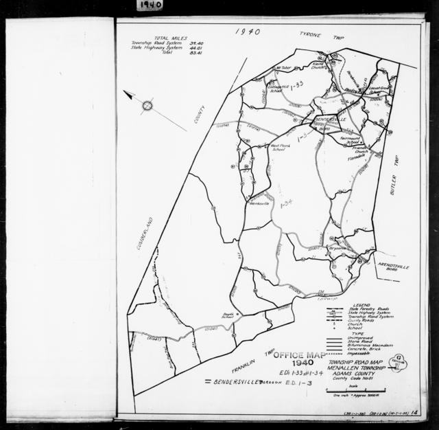 1940 Census Enumeration District Maps - Pennsylvania - Adams County - Menallen - ED 1-33, ED 1-34
