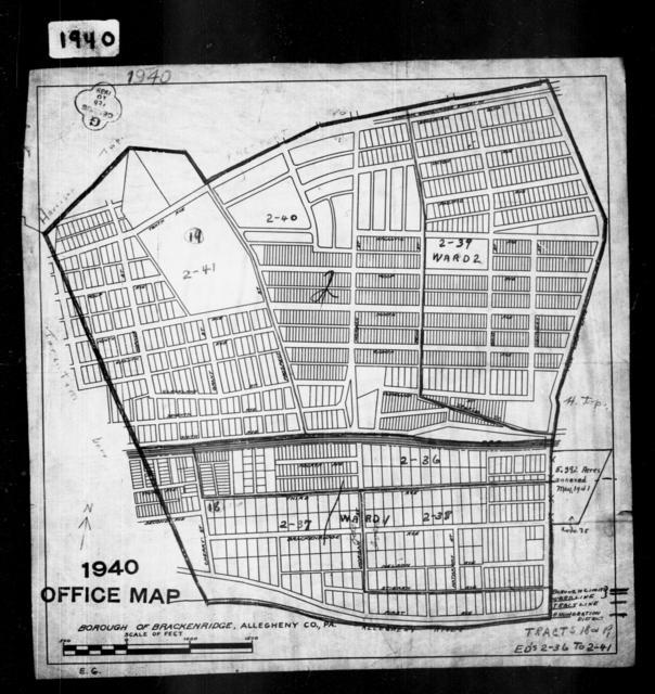 1940 Census Enumeration District Maps - Pennsylvania - Allegheny County - Brackenridge - ED 2-36, ED 2-37, ED 2-38, ED 2-39, ED 2-40, ED 2-41