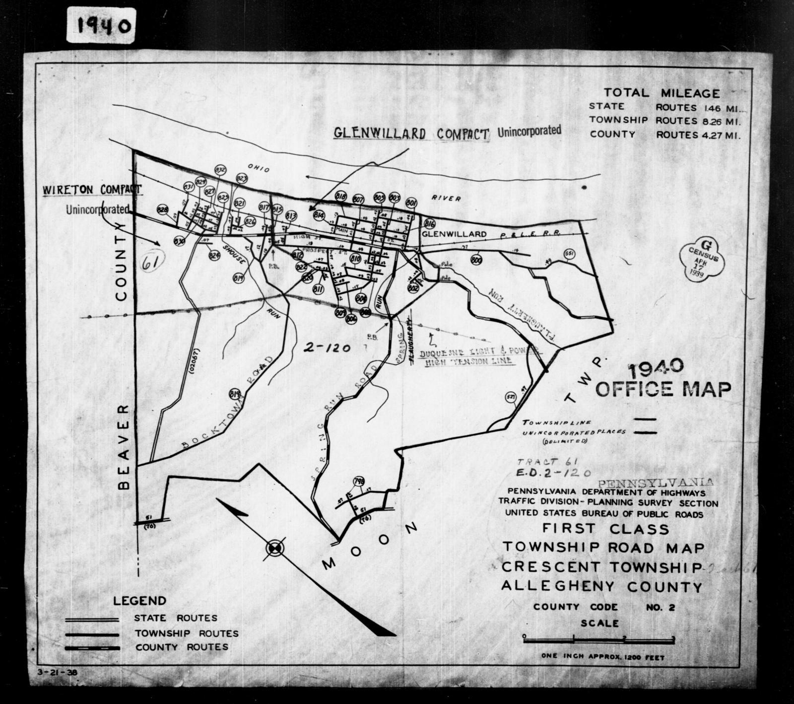 1940 Census Enumeration District Maps - Pennsylvania - Allegheny County - Crescent - ED 2-120