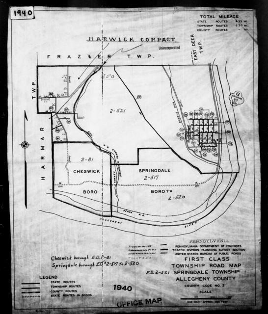 1940 Census Enumeration District Maps - Pennsylvania - Allegheny County - Springdale - ED 2-517, ED 2-518, ED 2-519, ED 2-520, ED 2-521