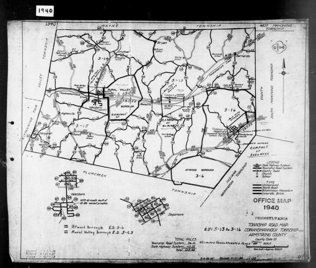 1940 Census Enumeration District Maps - Pennsylvania - Armstrong County - Cowanshannock - ED 3-13, ED 3-14, ED 3-15, ED 3-16