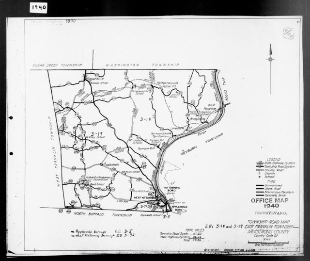 1940 Census Enumeration District Maps - Pennsylvania - Armstrong County - East Franklin - ED 3-18, ED 3-19