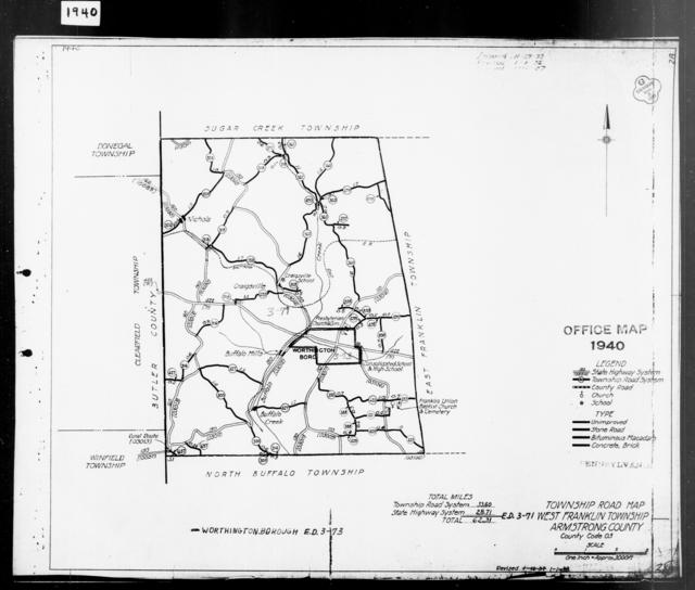1940 Census Enumeration District Maps - Pennsylvania - Armstrong County - West Franklin - ED 3-71