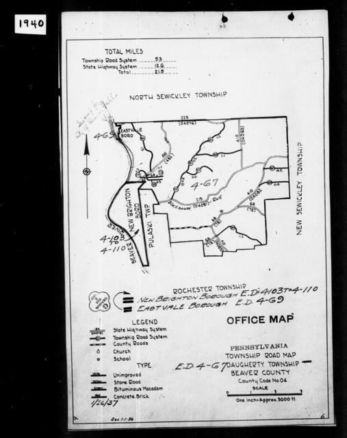 1940 Census Enumeration District Maps - Pennsylvania - Beaver County - Daugherty - ED 4-67
