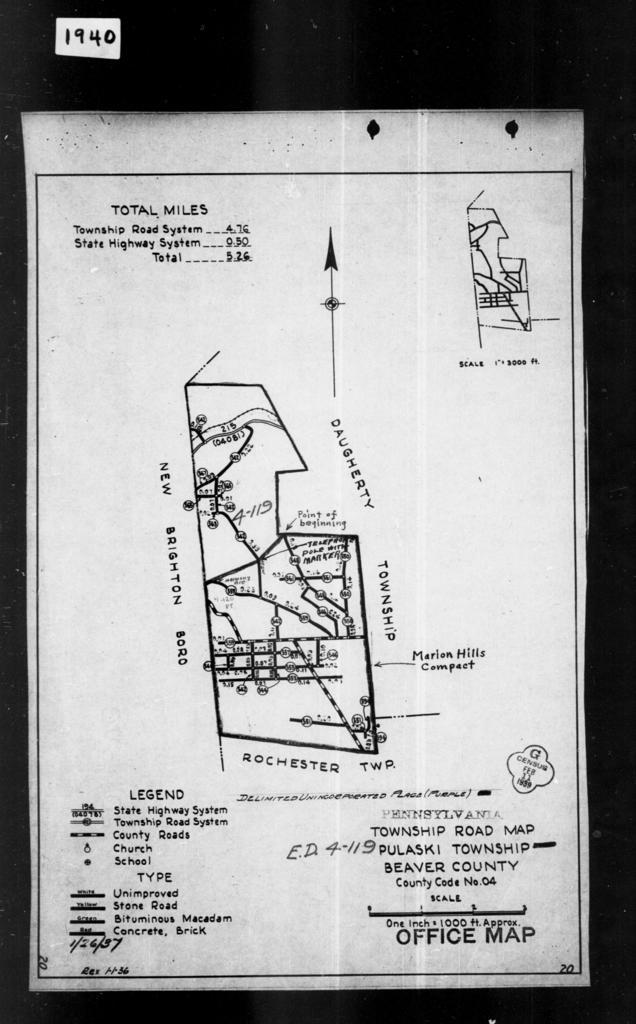 1940 Census Enumeration District Maps - Pennsylvania - Beaver County - Pulaski - ED 4-119