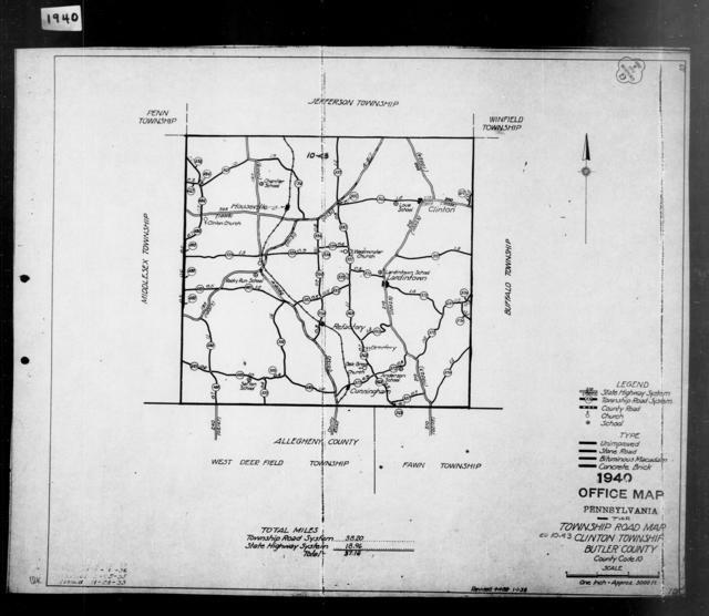 1940 Census Enumeration District Maps - Pennsylvania - Butler County - Clinton - ED 10-43