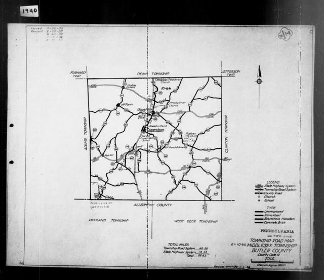 1940 Census Enumeration District Maps - Pennsylvania - Butler County - Middlesex - ED 10-66