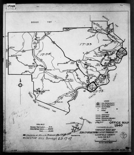 1940 Census Enumeration District Maps - Pennsylvania - Clearfield County - Decatur - ED 17-33, ED 17-34