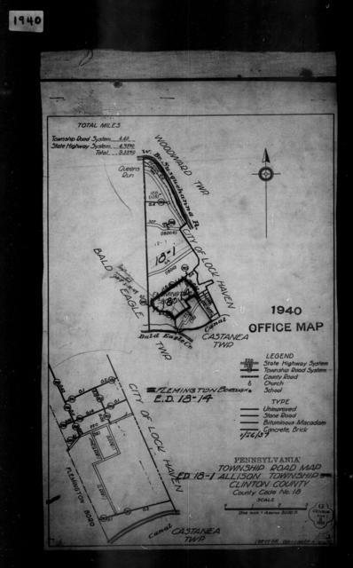 1940 Census Enumeration District Maps - Pennsylvania - Clinton County - Allison - ED 18-1