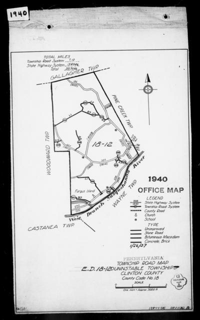 1940 Census Enumeration District Maps - Pennsylvania - Clinton County - Dunnstable - ED 18-12