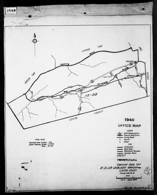 1940 Census Enumeration District Maps - Pennsylvania - Clinton County - Logan - ED 18-28