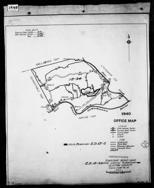 1940 Census Enumeration District Maps - Pennsylvania - Clinton County - Pine Creek - ED 18-34