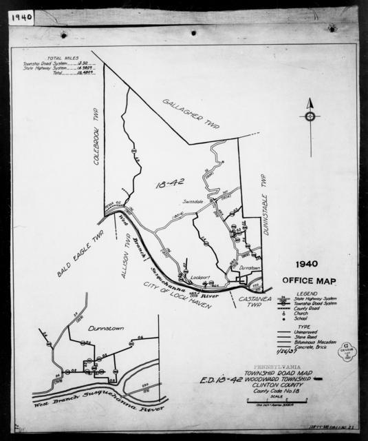 1940 Census Enumeration District Maps - Pennsylvania - Clinton County - Woodward - ED 18-42